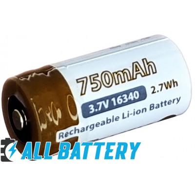Аккумулятор 16340 (CR123) EagTac 750 mAh, 3,7В, 5А, Li-Ion. С платой защитой (Protected).