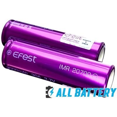 Аккумулятор 20700 Efest 3000 mAh 3,7В Li-Ion IMR. Высокотоковый - 30A. Без защиты. Промышленный.