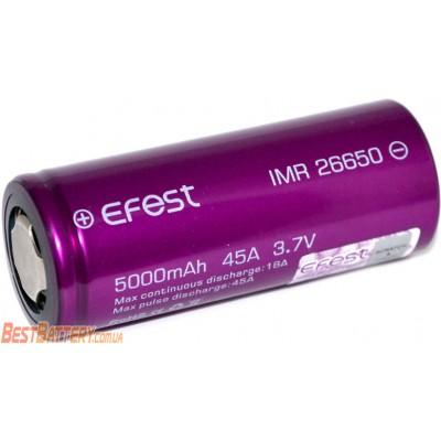 Li-Ion IMR аккумулятор 26650 Efest 45A (18A) 5000 mAh без защиты. Высокотоковый аккумулятор.