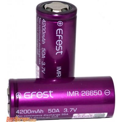 Li-Ion IMR аккумулятор 26650 Efest 50A (35A) 4200 mAh без защиты. Высокотоковый аккумулятор.