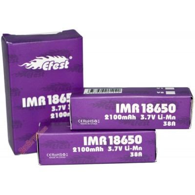 IMR аккумулятор Efest форм-фактора 18650, 2100 mAh, 38A (без защиты).