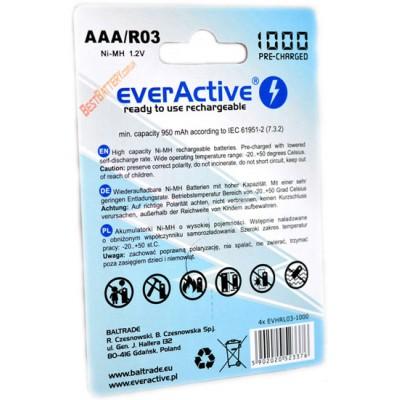Минипальчиковые аккумуляторы EverActive 1000 mAh в блистере. 1200 циклов заряд/разряд. Аналог Eneloop AAA. Цена за уп. 4 шт.