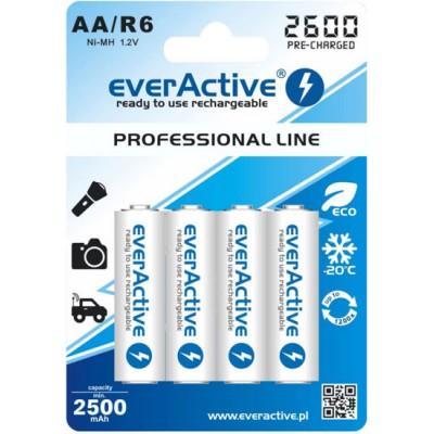 Пальчиковые аккумуляторы EverActive 2600 mAh АА с низким саморазрядом. Проф. серия. Цена за уп. 4 шт.