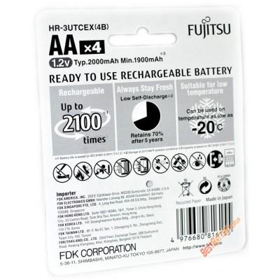 АА аккумуляторы Fujitsu 2000 mAh (min 1900 mAh) HR-3UTCEX (4B) в оригинальном блистере (аналог Panasonic Eneloop). Цена за уп. 4 шт.