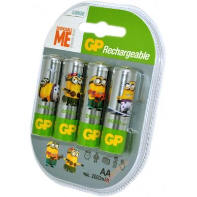 Пальчиковые аккумуляторы GP 2000 mAh Minion Made с низким саморазрядом. Цена за уп. 4 шт.