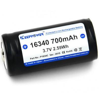 Keeppower 16340 (123A), 700 mAh с защитой. Li-ion, 3.7V.
