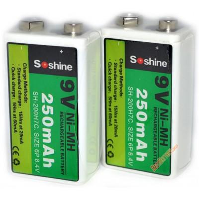 Ni-Mh аккумуляторы типа Крона Soshine 9V 250 mAh.