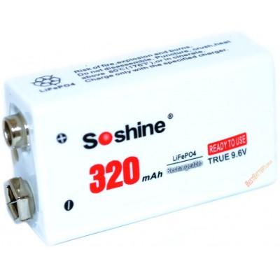 LiFePO4 аккумулятор типа Крона Soshine 9,6V 320 mAh. Ready to use.