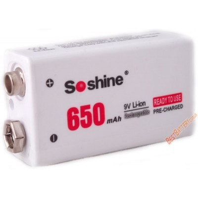 Li-Ion аккумулятор типа Крона Soshine 9V 650 mAh. Крона повышенной ёмкости.