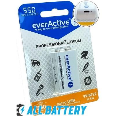 Аккумулятор Крона USB Ever Active 550 mAh Li-Ion 9В (7.4В) со встроенным USB портом для зарядки.