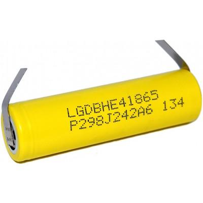 Высокотоковый Li-Ion аккумулятор LG HE4 2500 mAh 20A (30A) с лепестками под пайку (Solder Tags).