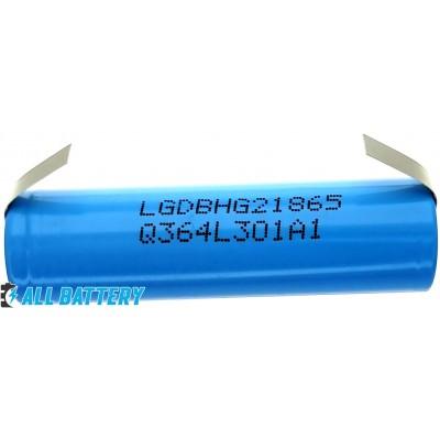 Аккумулятор 18650 LG HG2L 3000 mAh, 20A (30А), 3.7В, с лепестками (под пайку), Высокотоковый. Оригинал.