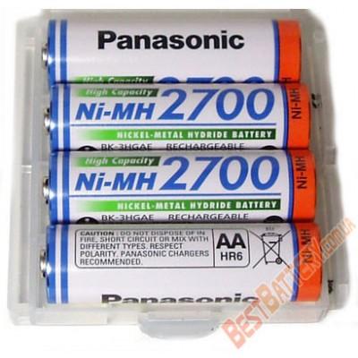 Зарядное устройство Liitokala Lii-NL4 и 4 пальчиковых аккумулятора Panasonic 2700 mAh BK 3HGAE в боксе.