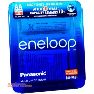 Panasonic Eneloop AA 2000 mAh (min 1900 mAh) BK-3MCCE 4LE Sliding Pack, 4-е поколение  Цена за уп. 4 шт.