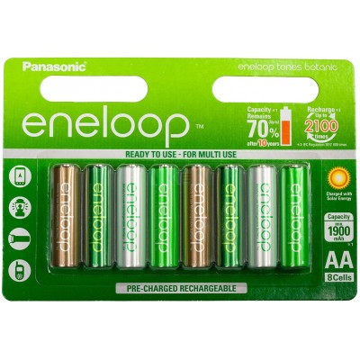 АА аккумуляторы Panasonic Eneloop Botanic Tones 2000 mAh (min 1900 mAh) BK-3MCCE/8TE. Цена за уп. 8 шт.