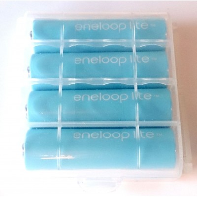 Пальчиковые аккумуляторы Panasonic Eneloop Lite 1000 mAh (min 950 mAh) версии BK-3LCCE в пластиковом боксе. Цена за уп. 4 шт.