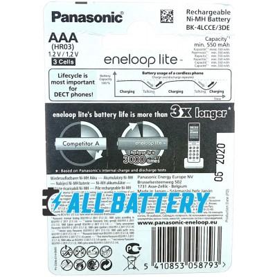 Panasonic Eneloop Lite 600 mAh (min 550 mAh) BK-4LCCE 3DE в блистере. 3000 Циклов! (AAA). Цена за уп. 3 шт.