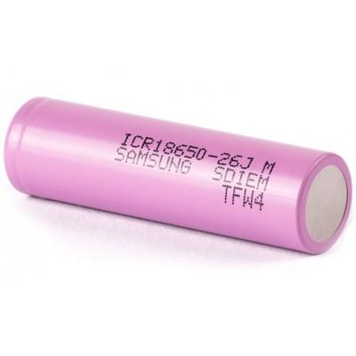 Li-Ion аккумулятор Samsung ICR 18650 26J ёмкостью 2600 mAh без защиты (промышленный АКБ).