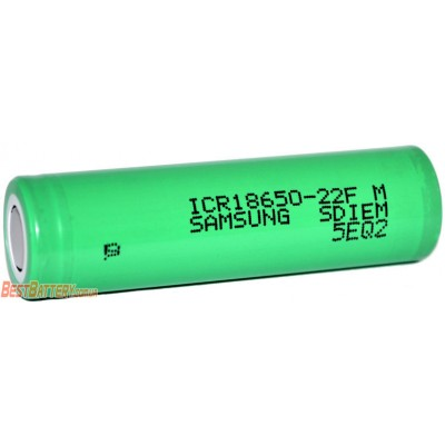 Li-Ion аккумулятор Samsung ICR 18650 22F ёмкостью 2200 mAh без защиты (промышленный АКБ).