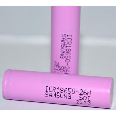 Li-Ion промышленный аккумулятор Samsung ICR 18650 26H ёмкостью 2600 mAh без защиты.