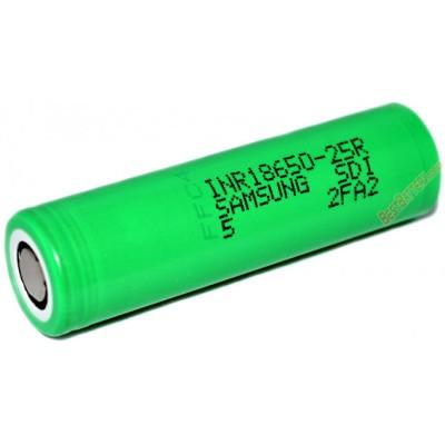 Высокотоковый Li-Ion аккумулятор Samsung 18650 25R SDI ёмкостью 2500 mAh без защиты 20A (100A).