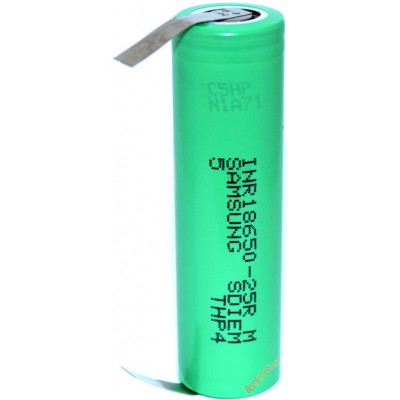 Высокотоковый Li-Ion аккумулятор Samsung INR 18650 25R SDI 2500 mAh без защиты с Лепестками под пайку.