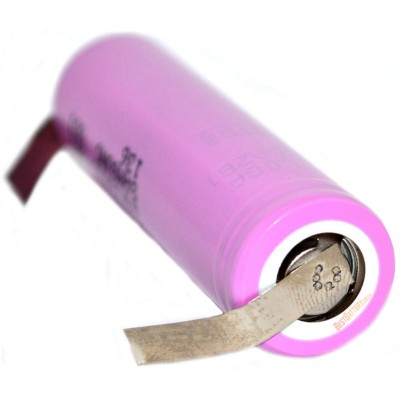 Li-Ion высокотоковый Samsung INR 18650 30Q 3000 mAh без защиты с лепестками под пайку. 15A (30A).