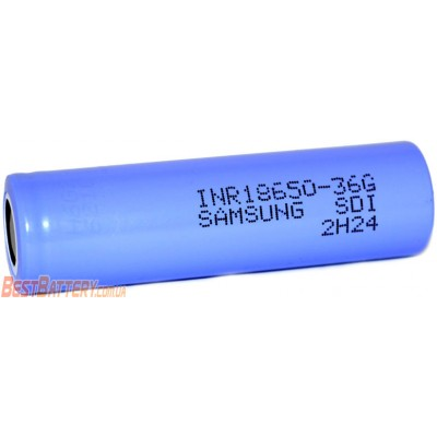 Li-Ion аккумулятор Samsung 36G INR 18650 ёмкостью 3600 mAh без защиты (промышленный АКБ).