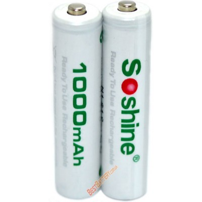 Минипальчиковые аккумуляторы Soshine 1000 mAh RTU поштучно. LSD. Цена за 1 шт.