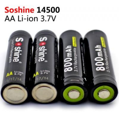 Литиевый аккумулятор Soshine форм-фактора 14500 (АА) ёмкостью 800 mAh с защитой. 3.7V.