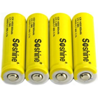 Литиевый аккумулятор Soshine форм-фактора 14500 (АА) ёмкостью 900 mAh без защиты. 3.7V.