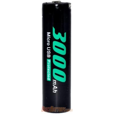 Li-Ion аккумулятор Soshine 18650 3,7V 3000 mAh со встроенным micro USB портом для зарядки. Защищенный.