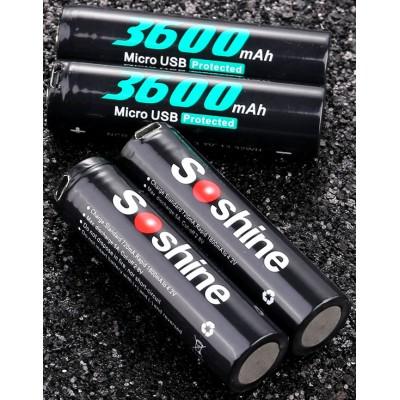 Li-Ion аккумулятор Soshine 18650 3,7V 3600 mAh со встроенным micro USB портом для зарядки. Protected.
