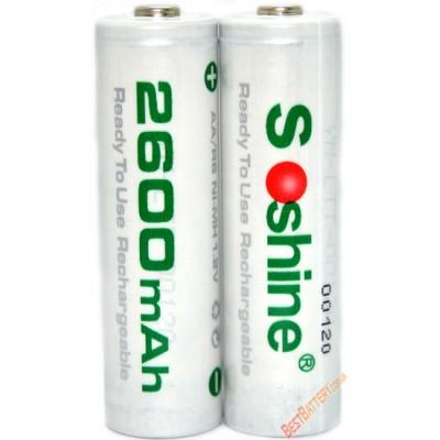 АА аккумуляторы Soshine 2600 mAh RTU поштучно. Низкосаморазрядные аккумуляторы формата АА. Цена за 1 шт.