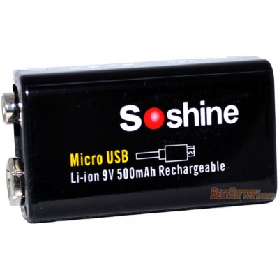 Li-Ion аккумулятор Крона Soshine 9V 500 mAh с USB портом для подзарядки + Бокс