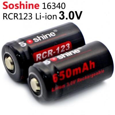 Литиевый аккумулятор Soshine 650 mAh RCR 123 (16340) 3.0V (Li-ion).