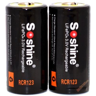 Аккумулятор Soshine 600 mAh 16340 (RCR123) 3.0V (3.2V) LiFePO4 с защитой.