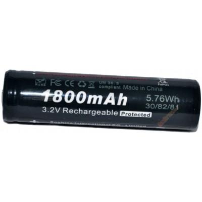 LiFePO4 аккумулятор Soshine 18650 с защитой (Protected) ёмкостью 1800 mAh, 3,2В.