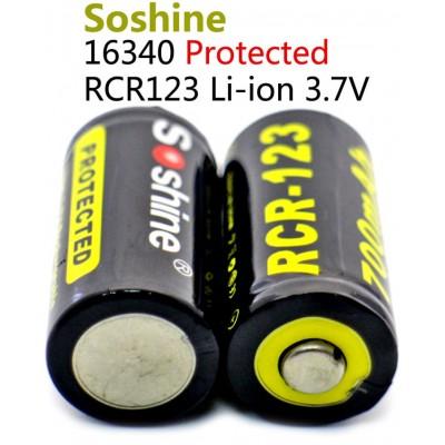 Аккумулятор Soshine 700 mAh RCR 123 (16340) 3.7V с защитой. Li-ion.