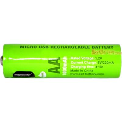 АА аккумуляторы Soshine (EPT) 1000 mAh USB - со встроенным micro USB портом для зарядки. Цена за 1 шт.