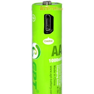 АА аккумуляторы Soshine (EPT) 1000 mAh USB со встроенным micro USB портом для зарядки + USB кабель. Цена за уп. 4 шт.