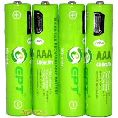 ААA аккумуляторы Soshine (EPT) 400 mAh USB со встроенным micro USB портом для зарядки + USB кабель. Цена за уп. 4 шт.