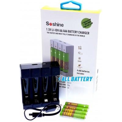 Комплект ЗУ Soshine USB Chocolate 1.5V и 4 шт. ААА Soshine Li-Ion 1.5В 1100 mWh + Бокс.