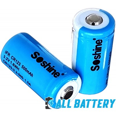 Аккумулятор 16340 / CR123 Soshine 500 mAh 3,2В, 1,5A, LiFePO4 (IFR) Без защиты, с выступающим плюсом.