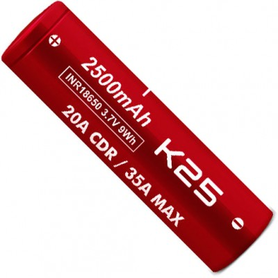 Li-Ion высокотоковый аккумулятор VapCell INR 18650 K25 Red ёмкостью 2500 mAh без защиты. 20A (35A), аналог Samsung 25R.
