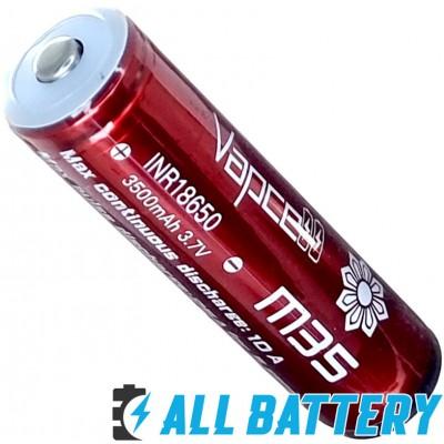 Аккумулятор 18650 VapCell M35 3500 mAh Li-Ion INR, 3,7В, 10А (25А), Red. С защитой (аналог Sanyo 3500 GA).
