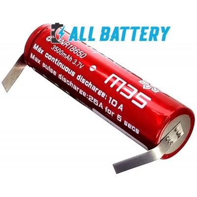 Аккумулятор 18650 VapCell M35 3500 mAh Li-Ion INR, 3.7В, 10А (25A), Solder Tags. С лепестками под пайку.