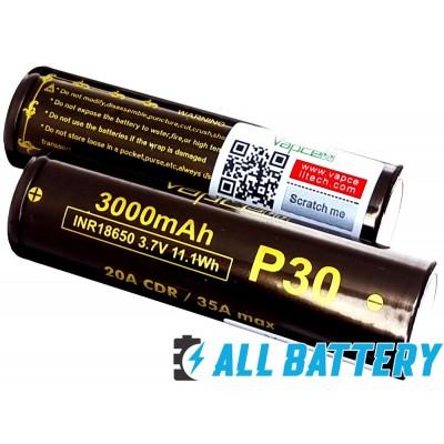 Аккумулятор 18650 VapCell P30 3000 mAh Li-Ion INR, 3.7В, 20А (35A) Высокотоковый. Аналог LG HG2, VTC6, 30Q.