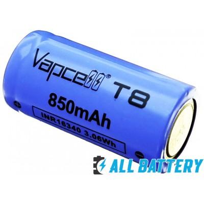 Аккумулятор 16340 Vapcell T8 850 mAh 3,7В 3A Li-Ion INR. Без защиты, с выступающим плюсом.