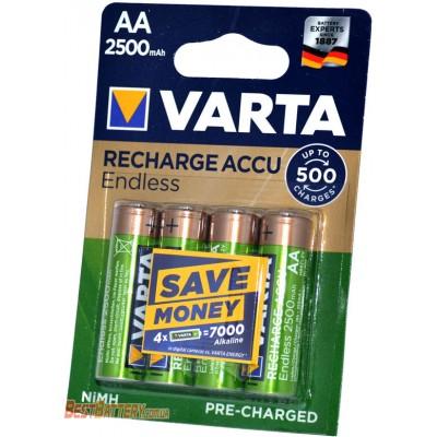 Varta Endless 2500 mAh Recharge Accu LSD в блистере (AA). Цена за уп. 4 шт.